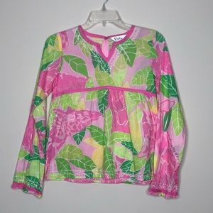 Floral leaf tunic top Lilly Pulitzer long sleeve